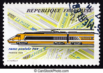 Postage stamp France 1984 High-speed Train, TGV - FRANCE -...