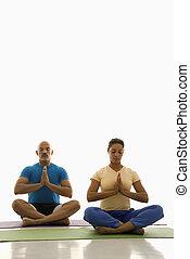 dos, gente, Practicar, yoga