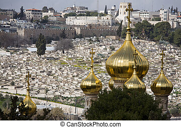 Jerusalem Old City with golden plated onion shaped roof of...