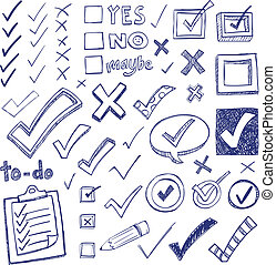 Checkmark Doodles - Checkmarks and checkboxes drawn in a...