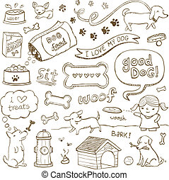 Dog Doodles - Dogs and dog accessories illustrated in a...