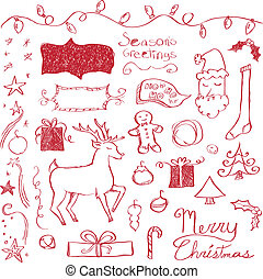 Merry Christmas Doodles - Christmas elements drawn in a...