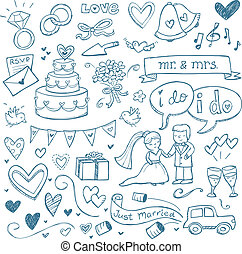 Wedding Doodles - Wedding illustrations drawn in a doodled...