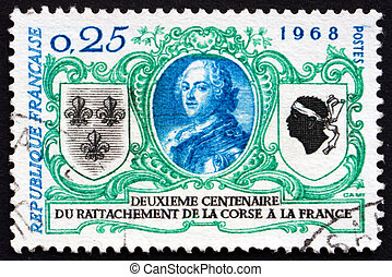 Postage stamp France 1968 Louis XV, King of France - FRANCE...
