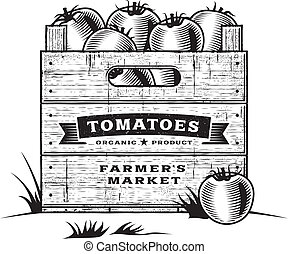 Retro crate of tomatoes B and W - Retro wooden crate of...