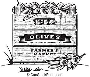 Retro crate of olives B&W - Retro wooden crate of olives in...