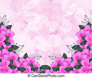 Invitation Border Pink Azaleas - Illustration and image...