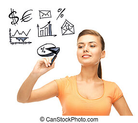 businesswoman drawing financial signs - business, finances...