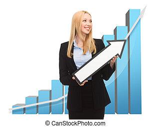 mujer de negocios, levantamiento, gráfico, flecha