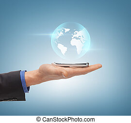 man hand with sphere globe - news, technology and...