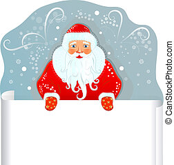 Santa Claus with blank sheet of paper.