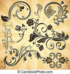 Floral vintage vector design elements.