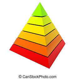 Color pyramid diagram isolated on white background.