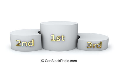 Winner award round podium with golden numbers isolated on...