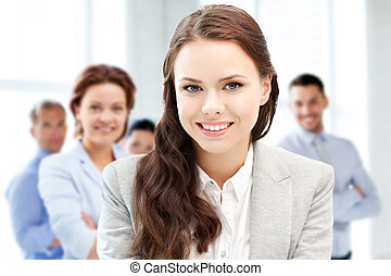 attractive young businesswoman in office - business concept...