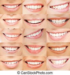 exemplos, femininas, sorrisos