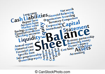 Balance Sheet word cloud with data sheet background