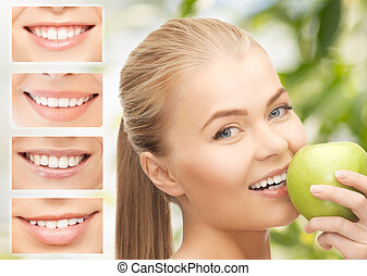 female with apple and smiles - healthcare, medical and...
