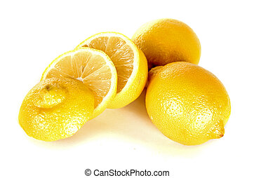 lemon over white - group three yellow lemons on white...