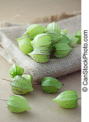 Ground cherry on sackcloth