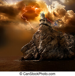 Lightning over the castle - Swallows Nest Castle on the rock...