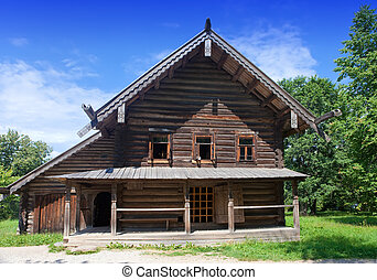 Open-air museum of  ancient wooden architecture. Russia. Vitoslavlitsy, Great  Novgorod