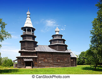 Open-air museum of  ancient wooden architecture. Russia. Vitoslavlitsy, Great  Novgorod. Church