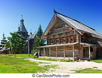 Open-air museum of  ancient wooden architecture. Russia. Vitoslavlitsy, Great  Novgorod.
