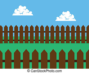 Picket Fence Brown Backyard - Brown wooden picket fence in...