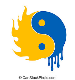 fire and water ying yang symbol - illustration