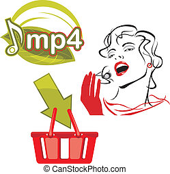 Mp4 download. Icon for design. Vector illustration