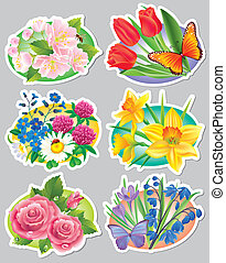 Stickers flowers.Contains transparent objects. EPS10.