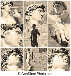 David by Michelangelo - composition with images of David by...