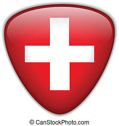 Switzerland Flag Glossy Button - Vector - Switzerland Flag...