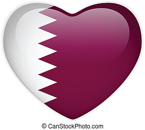 Qatar Flag Heart Glossy Button - Vector - Qatar Flag Heart...