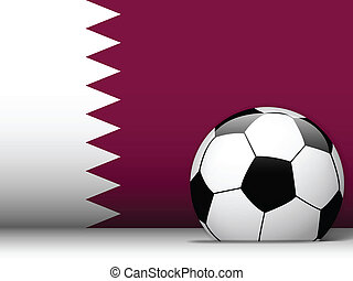 Qatar Soccer Ball with Flag Background - Vector - Qatar...