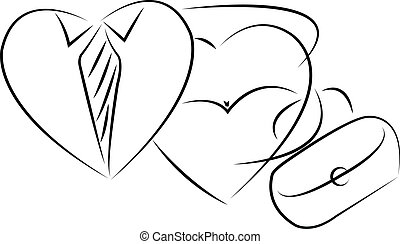 mr. and mrs. heart, icon vector