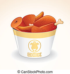 Fast Food Vector Icon. Fried Chicken in Bucket - Fast Food...