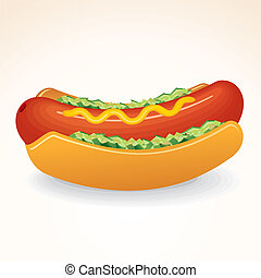 Fast Food Vector Icon Hot Dog with Mustard, Relish - Fast...