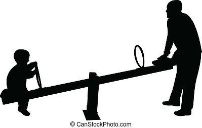 father and boy playing, seesaw, silhouette vector