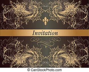 Beautiful invitation card in vintag - Elegant classic...