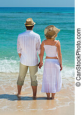 Couple enjoying at beach back view - Back view on couple...