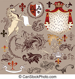 Heraldic vector set of detailed vin - Vector set of luxury...