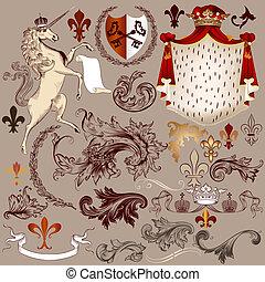 Heraldic vector set of detailed vintage elements - Vector...