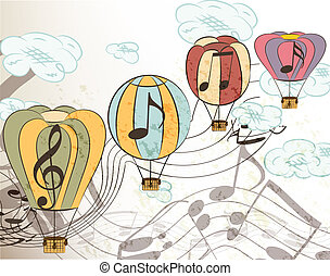 Music vector background with air ba - Vector set of music...