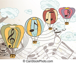 Music vector background with air balloons - Vector set of...