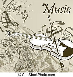 Music vector background with violin - Elegant vector music...