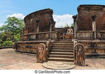 Structure unique to ancient Sri Lankan architecture. -...