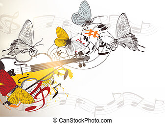 Music vector background - Vector music background with...