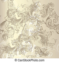 Seamless vector floral pattern in v - Vector hand drawn...